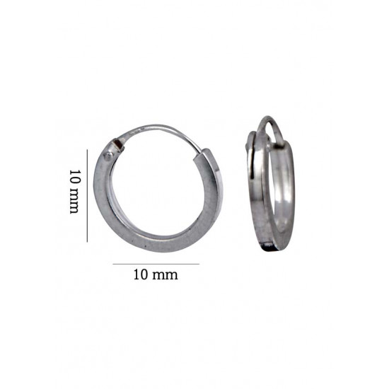 square pipe 1.5 mm thickness and 10 mm diameter Pure 92.5 Sterling Silver Hoop Earrings For Women and Girls Wife Mother Sister Friend Bhabhi Rakhi Valentine Anniversary Gift Stylish Latest