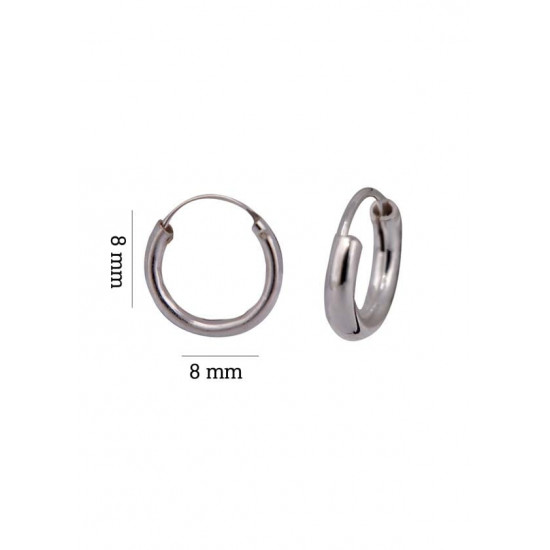 Light weighted round pipe 2 mm thickness and 8 mm diameter Pure 92.5 Sterling Silver Hoop Earrings For Women and Girls Wife Mother Sister Friend Bhabhi Rakhi Valentine Anniversary Gift Stylish Latest