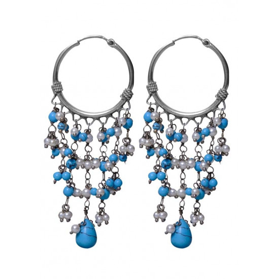 Designer Turquoise and Pearl Hangings Pure 92.5 Sterling Silver Hoops Balis For Women and Girls Wife Mother Sister Friend Bhabhi Rakhi Valentine Anniversary Gift Stylish Latest