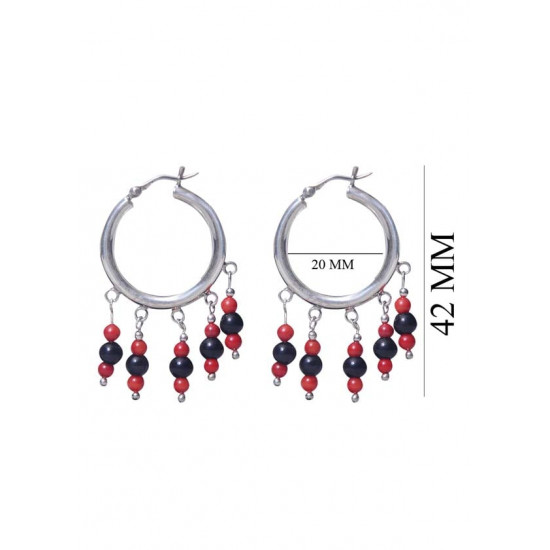 Designer Red and Black Shell Pearl Hangings Pure 92.5 Sterling Silver Hoops Balis For Women and Girls Wife Mother Sister Friend Bhabhi Rakhi Valentine Anniversary Gift Stylish Latest