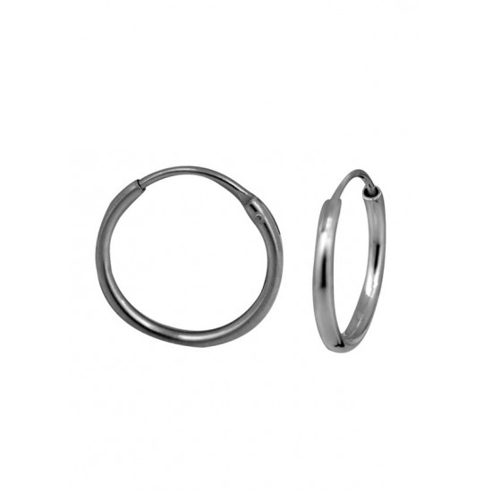 Light weighted round pipe 2 mm thickness and 14 mm diameter Pure 92.5 Sterling Silver Hoop Earrings For Women and Girls Wife Mother Sister Friend Bhabhi Rakhi Valentine Anniversary Gift Stylish Latest