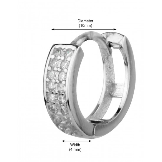 92.5 Sterling Silver Unisex Rhodium plated Double line Pave Huggie Hoops Earrings with CZ for Men, Boys, Girla and Women