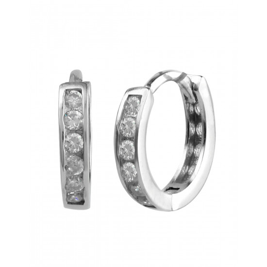 92.5 Sterling Silver Rhodium plated Single line Pave Unisex Huggie Hoops Earrings with CZ for Men, Boys, Girla and Women