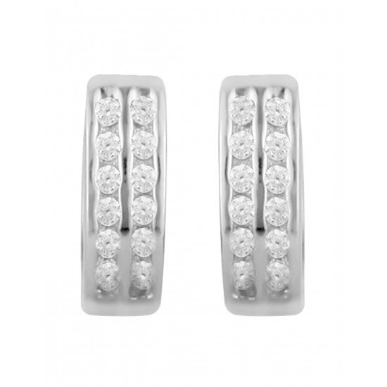 92.5 Sterling Silver Rhodium plated Unisex Double line Pave Huggie Hoops Earrings with CZ for Men, Boys, Girla and Women