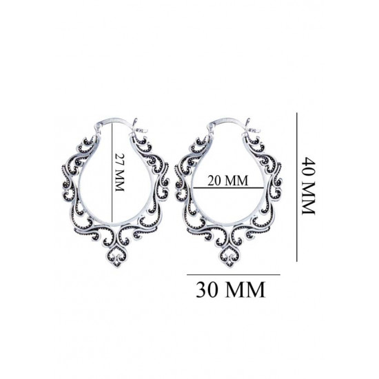 Oxidized Pure 92.5 Sterling Silver Hoop Earrings For Women and Girls Wife Mother Sister Friend Bhabhi Rakhi Valentine Anniversary Gift Stylish Latest