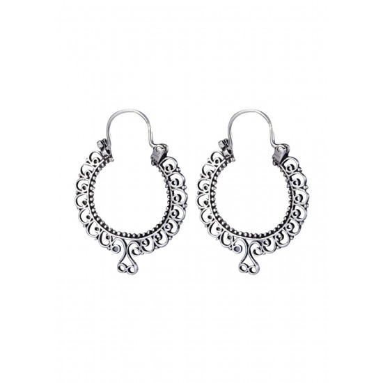 Classy Oxidized Pure 92.5 Sterling Silver Hoop Earrings For Women and Girls Wife Mother Sister Friend Bhabhi Rakhi Valentine Anniversary Gift Stylish Latest