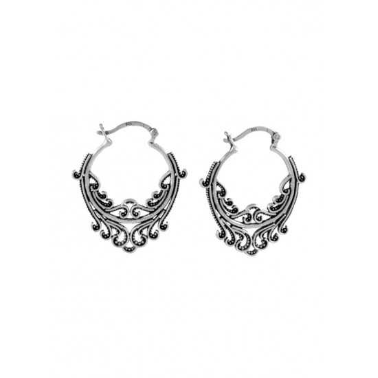 Designer and big Oxidized Pure 92.5 Sterling Silver Hoop Earrings For Women and Girls Wife Mother Sister Friend Bhabhi Rakhi Valentine Anniversary Gift Stylish Latest