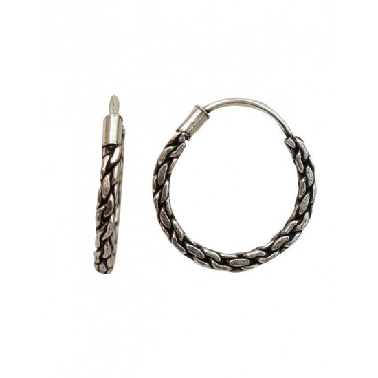 Designer and Good Looking 10 mm Pure 92.5 Sterling Silver Oxidized Hoops Balis For Women and Girls Wife Mother Sister Friend Bhabhi Rakhi Valentine Anniversary Gift Stylish Latest