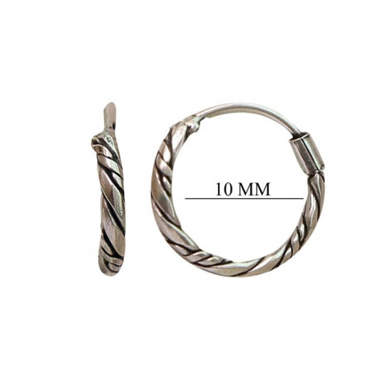 Fashionable 10 mm Pure 92.5 Sterling Silver Oxidized Hoops Balis For Women and Girls Wife Mother Sister Friend Bhabhi Rakhi Valentine Anniversary Gift Stylish Latest
