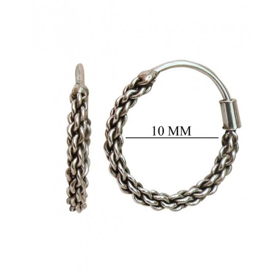 Stylish 10 mm Pure 92.5 Sterling Silver Oxidized Hoops Balis For Women and Girls Wife Mother Sister Friend Bhabhi Rakhi Valentine Anniversary Gift Stylish Latest