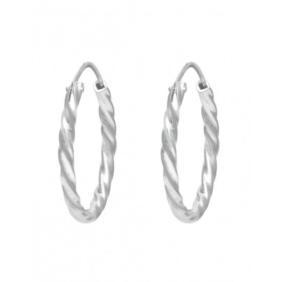 Self Design 20 mm Pure 92.5 Sterling Silver Hoop Bali Earrings For Women and Girls Wife Mother Sister Friend Bhabhi Rakhi Valentine Anniversary Gift Stylish Latest