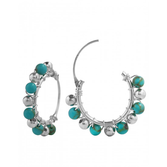 Abhooshan Designer Pure 92.5 Sterling Silver Hoops Balis with Turquoise Beads For Women and Girls Wife Mother Sister Friend Bhabhi Rakhi Valentine Anniversary Gift Stylish Latest…