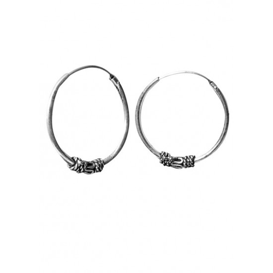 Designer 18 mm Pure 92.5 Sterling Silver Oxidised Hoops Balis For Women and Girls Wife Mother Sister Friend Bhabhi Rakhi Valentine Anniversary Gift Stylish Latest