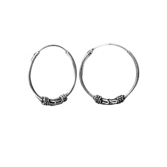 Trendy 18 mm Pure 92.5 Sterling Silver Oxidised Hoops Balis For Women and Girls Wife Mother Sister Friend Bhabhi Rakhi Valentine Anniversary Gift Stylish Latest