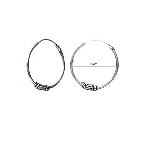 Good Looking 18 mm Pure 92.5 Sterling Silver Oxidised Hoops Balis For Women and Girls Wife Mother Sister Friend Bhabhi Rakhi Valentine Anniversary Gift Stylish Latest