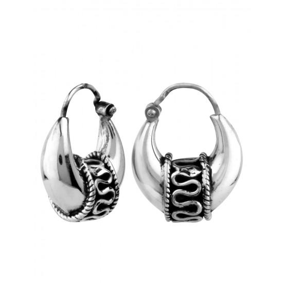 Unisex Kaju Balis. 925 Sterling Silver Hoop Earrings for Men - Classic Modern Men Jewelry - Men Earrings - Men Hoops - Sterling Silver Earrings for Men stylish, men jewelry