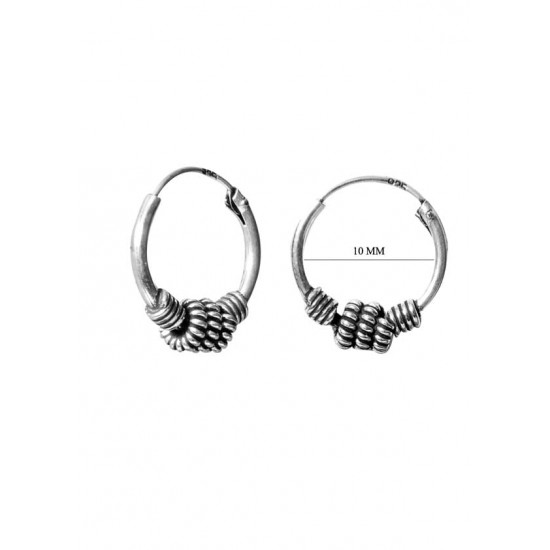 Designer 10 mm Pure 92.5 Sterling Silver Oxidized Hoops Balis For Women and Girls Wife Mother Sister Friend Bhabhi Rakhi Valentine Anniversary Gift Stylish Latest