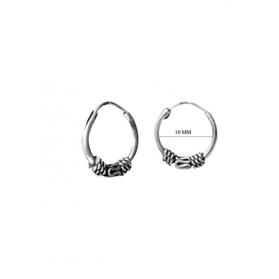 Trendy look 10 mm Pure 92.5 Sterling Silver Oxidized Hoops Balis For Women and Girls Wife Mother Sister Friend Bhabhi Rakhi Valentine Anniversary Gift Stylish Latest