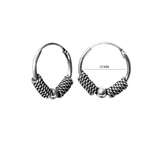 Adorable 12 mm Pure 92.5 Sterling Silver Oxidized Hoops Balis For Women and Girls Wife Mother Sister Friend Bhabhi Rakhi Valentine Anniversary Gift Stylish Latest
