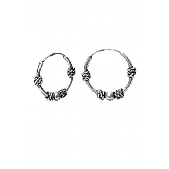 Designer 12 mm Pure 92.5 Sterling Silver Oxidized Hoops Balis For Women and Girls Wife Mother Sister Friend Bhabhi Rakhi Valentine Anniversary Gift Stylish Latest