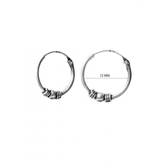 Fashionable 12 mm Pure 92.5 Sterling Silver Oxidized Hoops Balis For Women and Girls Wife Mother Sister Friend Bhabhi Rakhi Valentine Anniversary Gift Stylish Latest