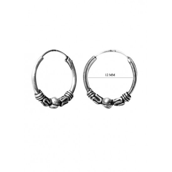 Trendy 12 mm Oxidized Silver Hoops Bali Earrings Pure 92.5 Sterling Silver Hoops For Women and Girls Wife Mother Daughter Sister Friend Bhabhi Rakhi Valentine Anniversary Gift Stylish Latest