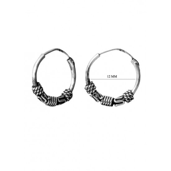 12 mm FANCY Pure 92.5 Sterling Silver Oxidized Hoops Balis For Women and Girls Wife Mother Sister Friend Bhabhi Rakhi Valentine Anniversary Gift Stylish Latest