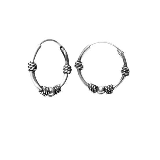 Designer 14 mm Pure 92.5 Sterling Silver Oxidized Hoops Balis For Women and Girls Wife Mother Sister Friend Bhabhi Valentine Anniversary Gift Stylish Latest