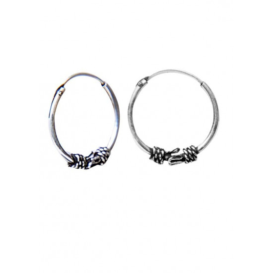 Designer 14 mm Pure 92.5 Sterling Silver Oxidised Hoops Balis For Women and Girls Wife Mother Sister Friend Bhabhi Rakhi Valentine Anniversary Gift Stylish Latest