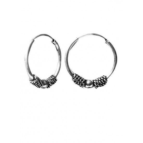 Trendy look 14 mm Pure 92.5 Sterling Silver Oxidized Hoops Balis For Women and Girls Wife Mother Sister Friend Bhabhi Rakhi Valentine Anniversary Gift Stylish Latest