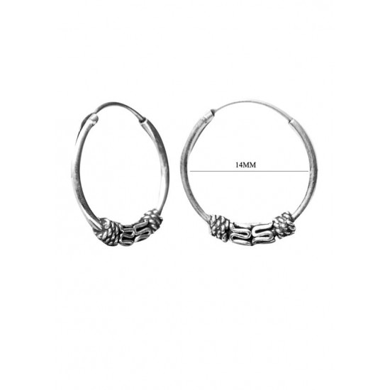 14 mm Pure 92.5 Sterling Silver Oxidized Hoops Balis For Women and Girls Wife Mother Sister Friend Bhabhi Rakhi Valentine Anniversary Gift Stylish Latest