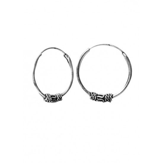 Designer 16 mm Pure 92.5 Sterling Silver Oxidised Hoops Balis For Women and Girls Wife Mother Sister Friend Bhabhi Rakhi Valentine Anniversary Gift Stylish Latest