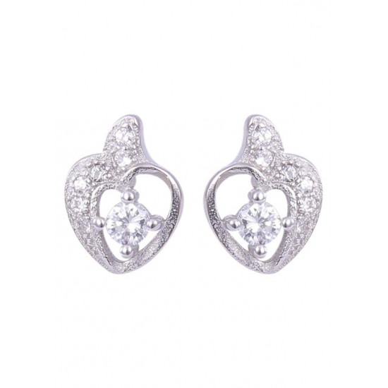 Pair of beautiful and small heart Cubic zircon studs