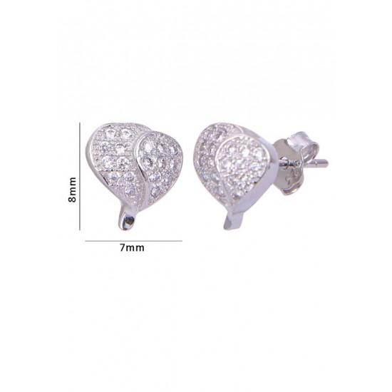 Pair of Heart Shape Cubic Zircon Studs