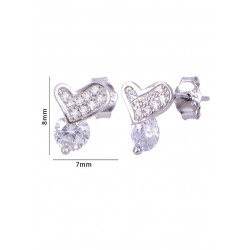 Pair of Heart with single dot like Cubic Zircon Studs