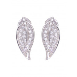 Pair of Long Leaf Shape Cubic Zircon Studs