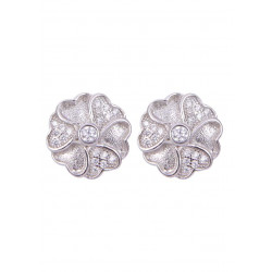 Pair of Flower Shape Cubic Zircon Studs