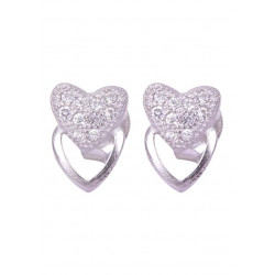 Pair of Heart over heart Shape Cubic Zircon Studs