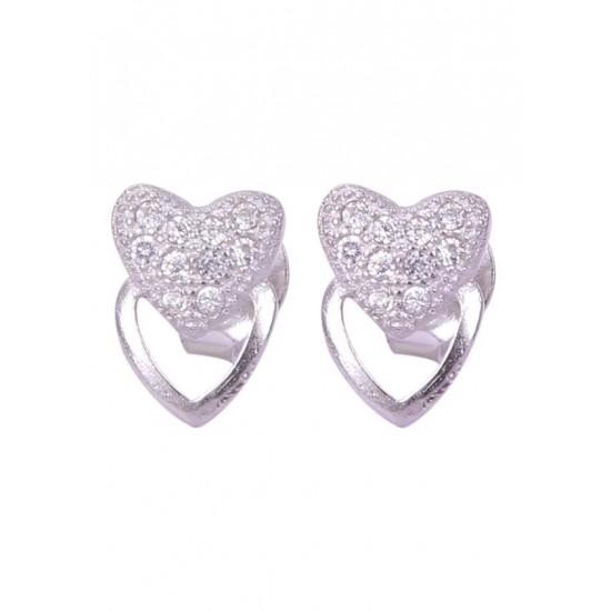 Pair of Heart over heart Shape Cubic Zircon Studs