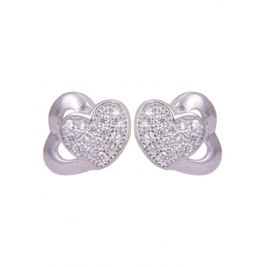 Pair of Heart behind heart Shape Cubic Zircon Studs