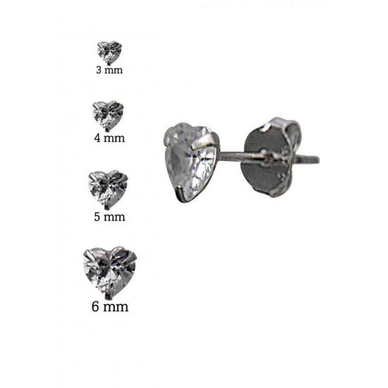 925 Sterling Silver pair of Heart shape 6mm Single White Cubic Zircon (CZ) Stone Solitaire Stud Earrings For Men, Women,Girls & Boys