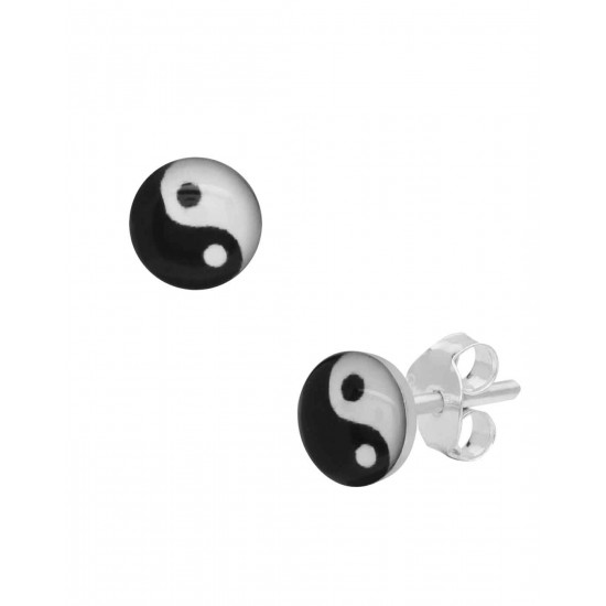 Abhooshan small pair of Ying Yang Studs in 92.5 Sterling Silver for Baby Girls.