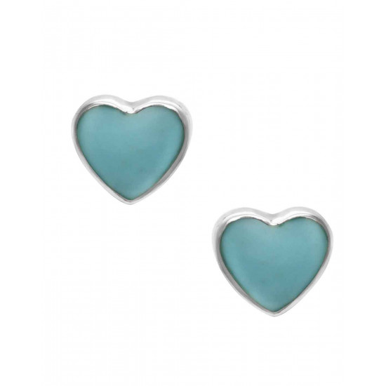 Designer Love Heart Green Blue Studs in 92.5 Sterling Silver and Mother of Pearl for Women and Girls. Valentine Gifts for Girlfriend Wife Gift for her