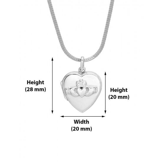 92.5 Sterling Silver Heart Shape Love Photo Locket pendant with silver chain for Best Valentine Gift for her Girls Boys Men Women. Girlfriend Boyfriend special