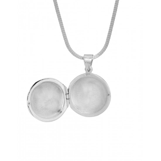 92.5 Sterling Silver Love Round Photo Locket pendant with silver chain for Best Valentine Gift for her Girls Boys Men Women. Girlfriend Boyfriend special