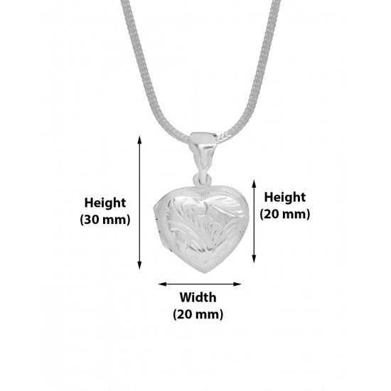 92.5 Sterling Silver Heart Shape Love Photo Locket pendant with silver chain for Best Valentine Gift for her Girls Boys Men Women. Girlfriend Boyfriend special