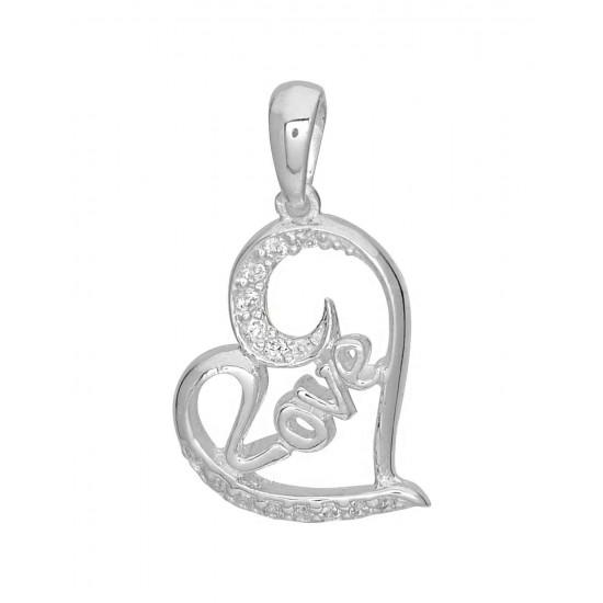 92.5 Sterling Silver Heart Shape Love pendant with silver chain for Best Valentine Gift for her Girls Boys Men Women. Girlfriend Boyfriend special