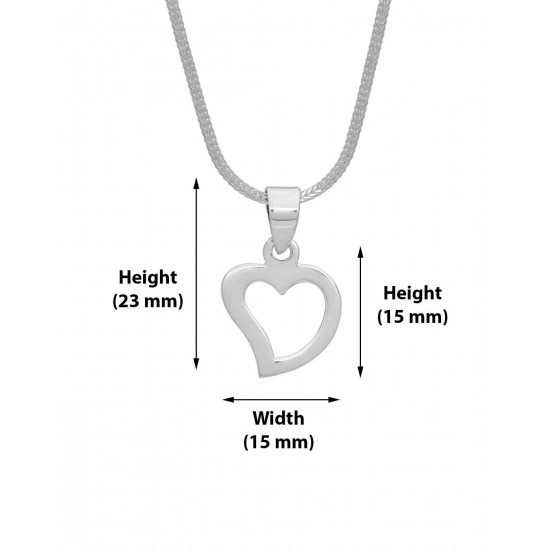 92.5 Sterling Silver Designer Heart Shape Love pendant with silver chain for Best Valentine Gift for her Girls Boys Men Women. Girlfriend Boyfriend special