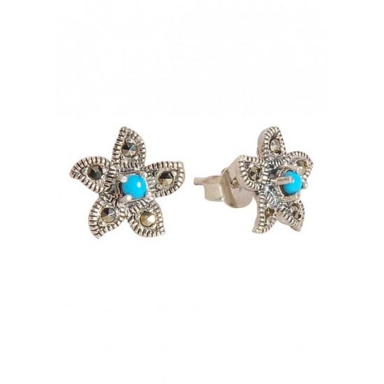 Abhooshan Trendy Marcasite Stone Earrings in 925 Silver