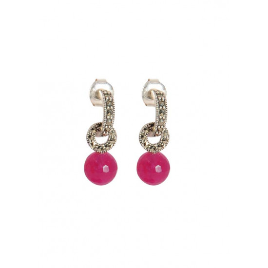 Abhooshan Marcasite Stone Earrings in 925 Silver with ruby